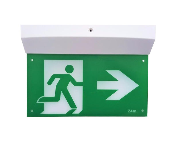 Slim Emergency Exit Sign Light LED Ceiling Mount Running Man Double Sided