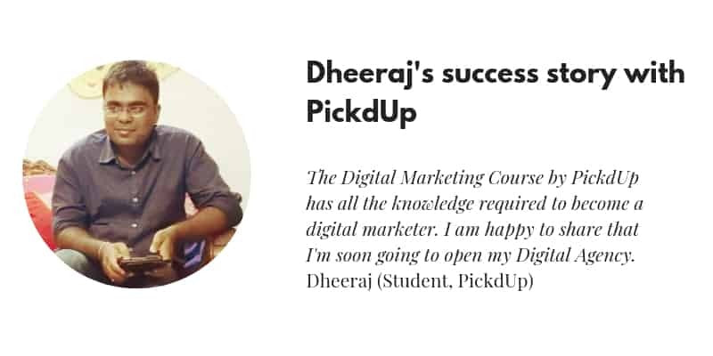 Dheeraj Review Digital Marketing Course Review PickdUp Marketing Labs
