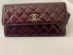 Chanel Burgundy Patent Long Wallet