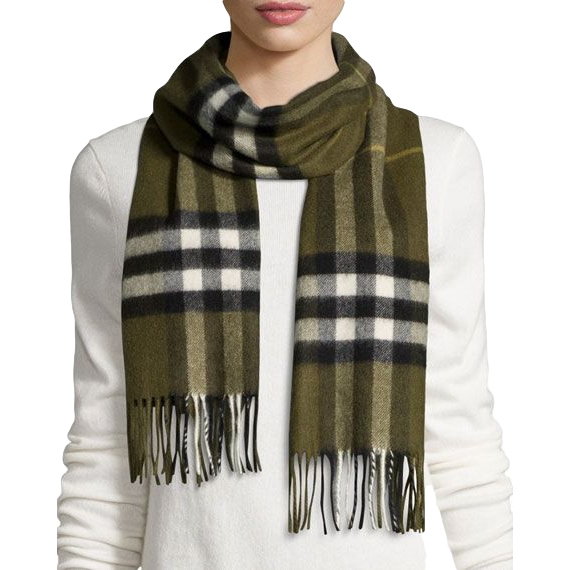 Brand New Burberry Giant Check Cashmere Scarf Olive Green