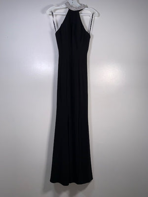 Dynasty Black Backless Diamante Collar Dress Size 6 UK