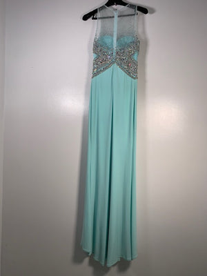 Dynasty London Mint Green Crystal Dress Size 12