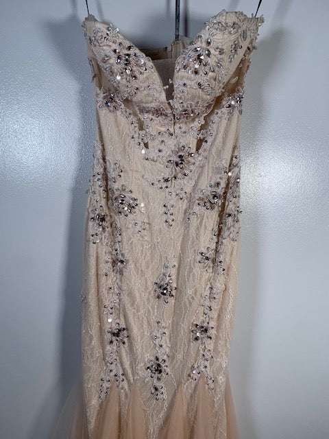 Dynasty Yasmin Nude Fishtail Gown Size 6