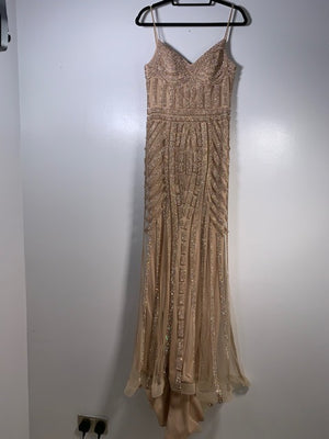 Farah Diamante Champagne Gown Size 10 UK