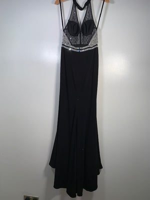 Morilee Black Fishtail Crystal Embellished Gown Size 8