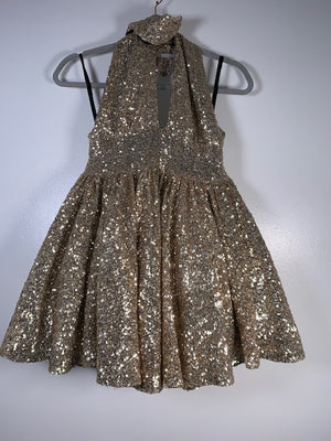 Francesca Couture Gold Sequin Dress Size 10-12 UK