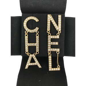 Chanel Large Letter Logo Earrings Gold Crystal