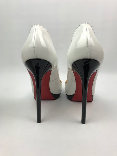 the best attitude 03397 29508 Christian Louboutin Pigalle Plato White / Black Patent 39.5