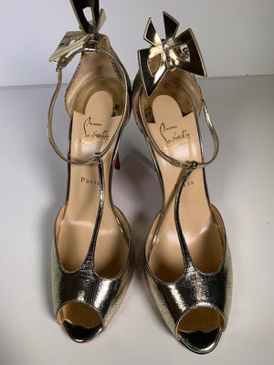 Brand New Christian Louboutin Gold Sandals 41