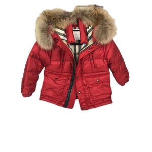 Girls Burberry Fur Parka Coat Age 7