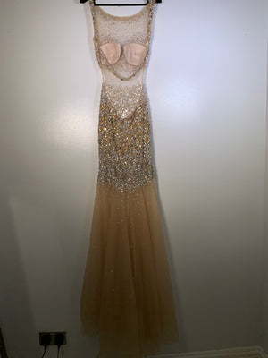 Jovani Gold Backless Crystal Fishtail Gown Size 12 UK