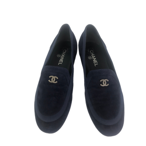 Chanel Navy Suede Flats 40.5 (Generous Fit)
