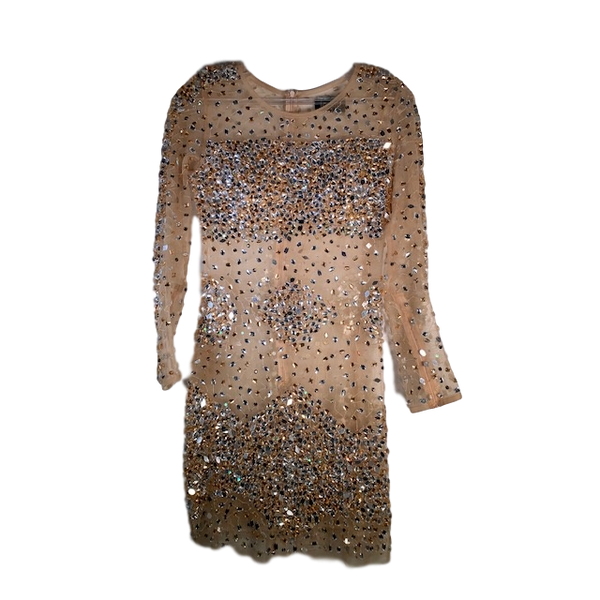 Jovani Gold Illusion Dress Size 8 UK
