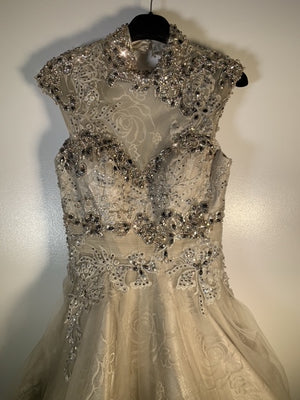Jovani Champagne Crystal Encrusted Dress Size 8 UK