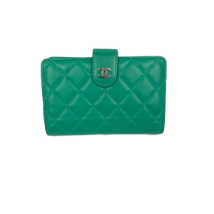 Chanel Turquoise Green Lambskin Bi-fold Wallet Purse
