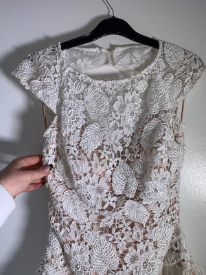Jovani White & Nude Lace Feather Cocktail Dress Size 6 UK