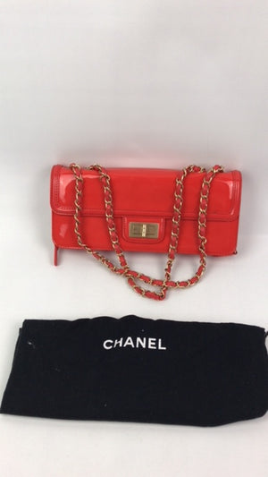 Chanel East West Orange Patent Handbag