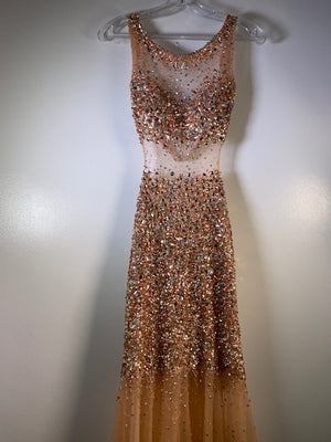 Jovani Rose-Gold Backless Crystal Fishtail Gown Size 6-8 UK