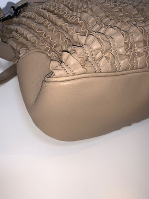 Burberry Ruffled Taupe Crossbody Bag