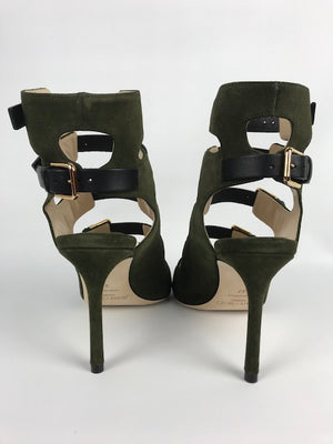 Brand New Current Season Jimmy Choo Trick Shoe Boots Army Green 39.5