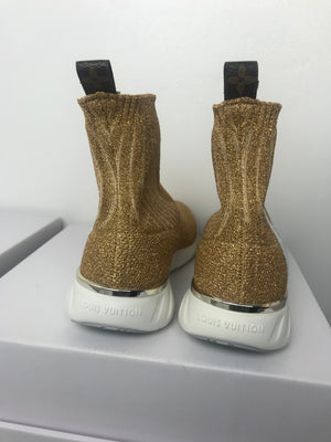 Brand New Louis Vuitton Gold Sock Sneakers 39