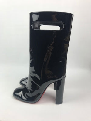 Brand New Christian Louboutin Bag Bootie Black Patent 36.5