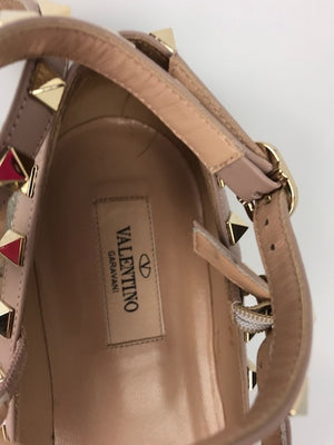 Pre-owned Valentino Garavani Pointed Metallic Flats 38.5
