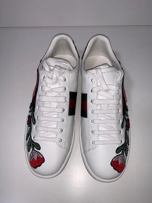 Brand New Gucci Ace Flower Sneakers 35.5 (Generous fit)