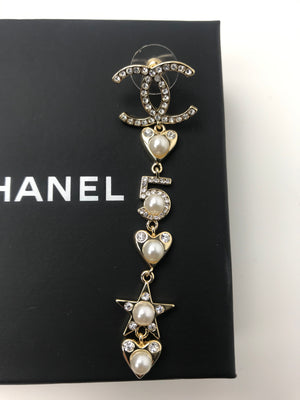 Chanel #5 Stars & Hearts Pearl Dangle Earrings