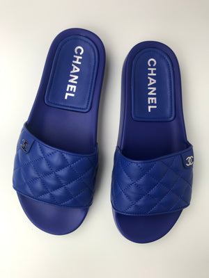 Brand New Chanel Electric Blue Quilted Sliders 39