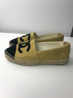 Chanel Espadrilles Gold Glitter & Black 40