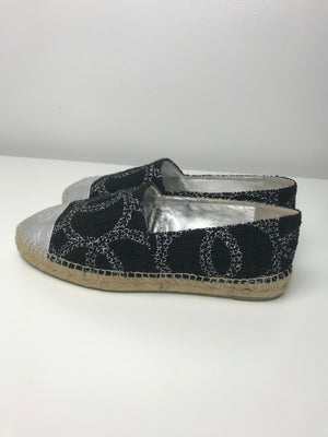 Chanel Black & Silver Tweed Espadrilles 40