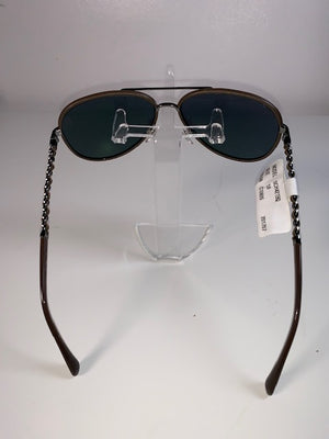 Brand New Chanel Chain-Arm Aviator Sunglasses Brown