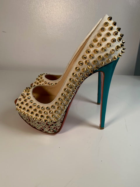 Brand New Christian Louboutin Lady Peep Spikes 37