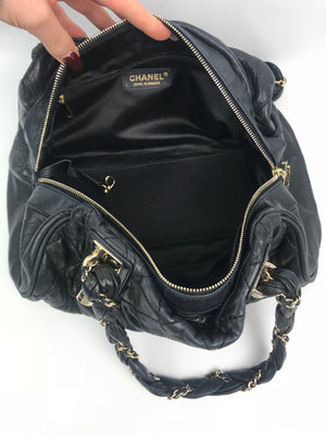 Chanel Quilted Chain Handle Handbag Black
