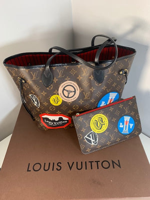 Louis Vuitton Rare World Tour Neverfull MM And Pouch
