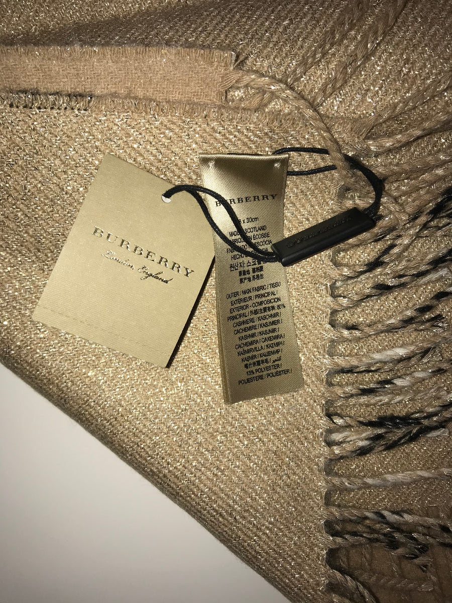 Brand New Limited Edition Burberry Giant Check Cashmere Metallic Scarf