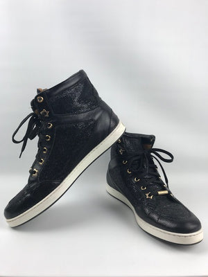 Jimmy Choo Black Glitter High Tops 38.5