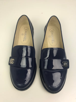 Chanel Navy Patent Flats 38