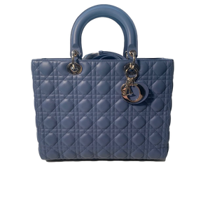Brand New Lady Dior Large Tote Blue Lambskin