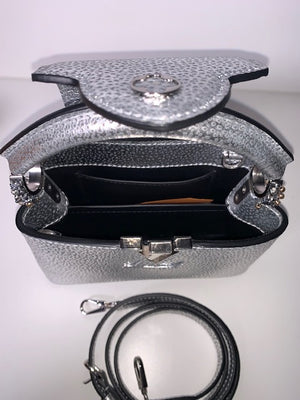 Brand New Limited Edition Louis Vuitton Capuncines Silver Mini Bag