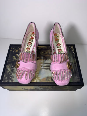 Brand New Gucci Marmont Pink Crystal Loafers 35