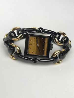 Gucci Signora Horsebit Watch Black & Gold
