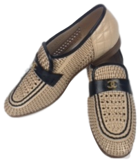 Brand New Chanel Moccasins Beige Black 39