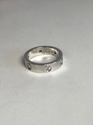 Brand New Cartier Love Ring 6 Diamonds 18k White Gold
