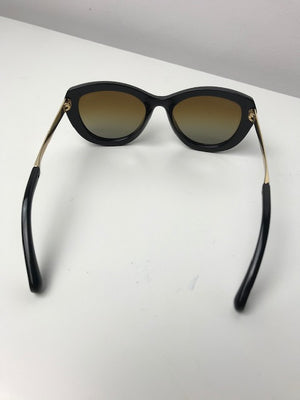 Chanel Black And Gold Crystal Sunglasses
