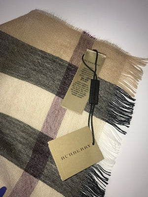 Brand New Burberry Lightweight Cashmere Wool Scarf