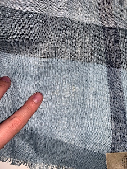 Burberry Blue Check Linen Scarf