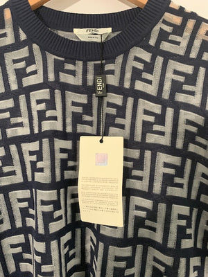 Brand New Fendi Ladies Navy Sheer Jumper UK 10