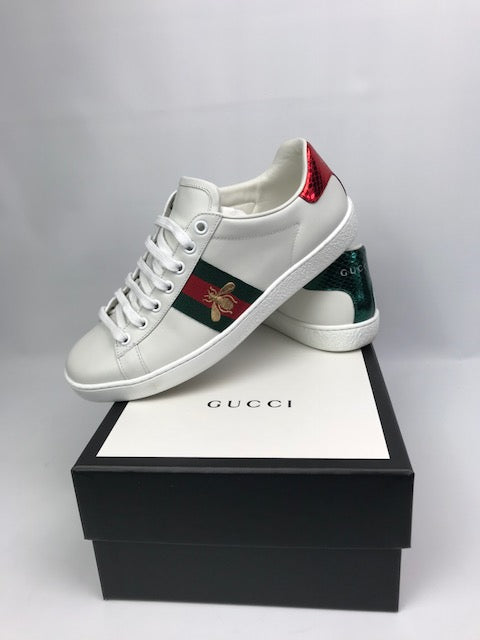 Gucci Ace Embroidered Bee Sneakers 37 (Generous)